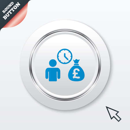borrow: Bank loans sign icon. Get money fast symbol. Borrow money. White button with metallic line. Modern UI website button with mouse cursor pointer. Vector