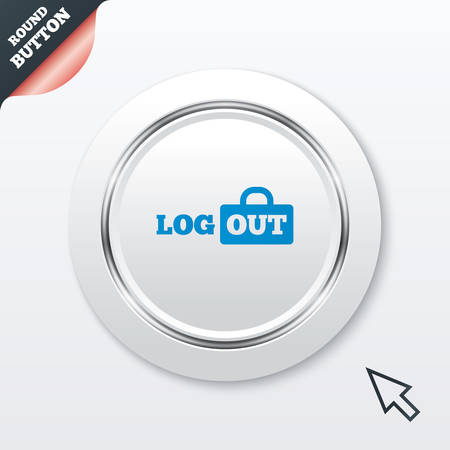 lock out: Logout sign icon. Sign out symbol. Lock icon. White button with metallic line.