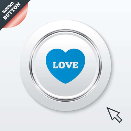 Heart sign icon. Love symbol. White button with metallic line. Modern UI website button with mouse cursor pointer. Vector Vector