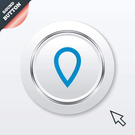 Map pointer sign icon. Location marker symbol. White button with metallic line. Modern UI website button with mouse cursor pointer. Vector Vector