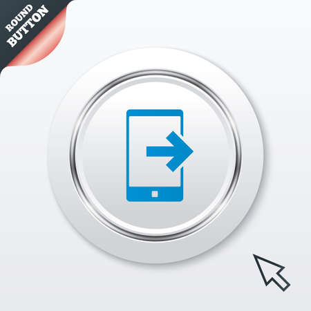 outcoming: Outcoming call sign icon. Smartphone symbol.  Illustration