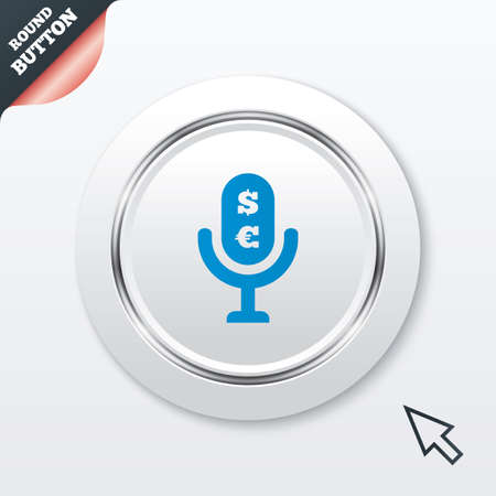 usr: Microphone icon. Speaker symbol. Paid music sign. White button with metallic line. Modern UI website button with mouse cursor pointer. Vector