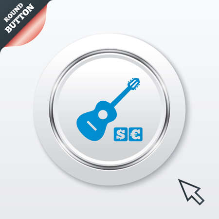 usr: Acoustic guitar sign icon. Paid music symbol. White button with metallic line. Modern UI website button with mouse cursor pointer. Vector Illustration
