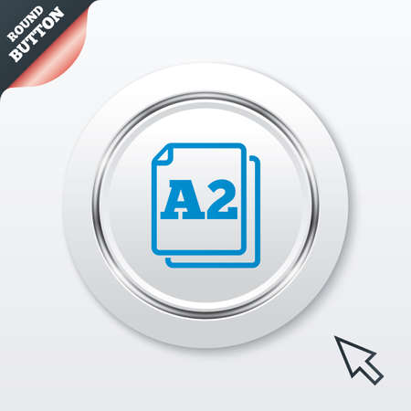 a2: Paper size A2 standard icon. File document symbol.