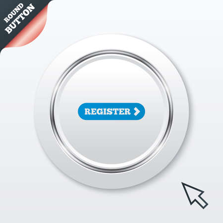 registration mark: Register with arrow sign icon. Membership symbol. Website navigation. White button with metallic line. Modern UI website button with mouse cursor pointer. Vector