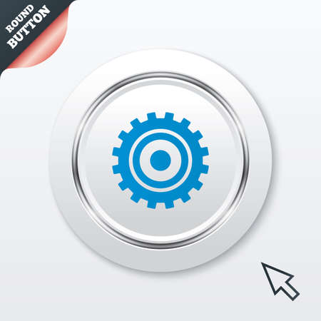 Cog settings sign icon. Cogwheel gear mechanism symbol. White button with metallic line. Modern UI website button with mouse cursor pointer. Vector Vector