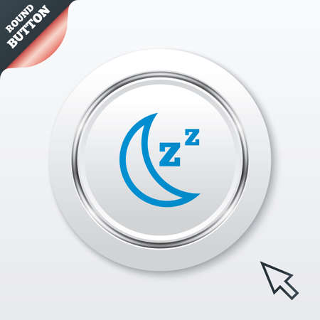 standby: Sleep sign icon. Moon with zzz button. Standby. White button with metallic line. Modern UI website button with mouse cursor pointer. Vector