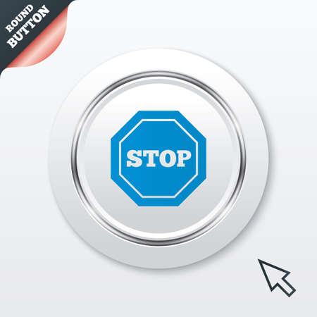 Traffic stop sign icon. Caution symbol. White button with metallic line. Modern UI website button with mouse cursor pointer. Vector Vector