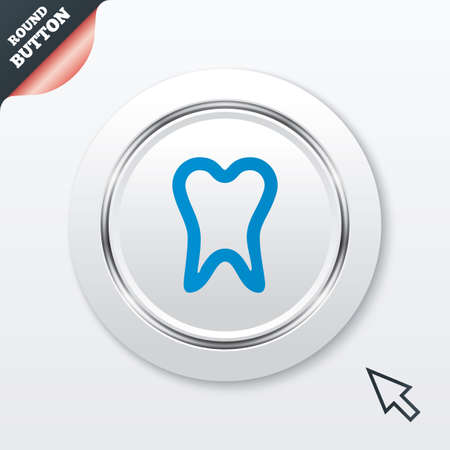 Tooth sign icon. Dental care symbol. White button with metallic line. Modern UI website button with mouse cursor pointer. Vector Vector