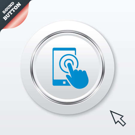 Touch screen smartphone sign icon. Hand pointer symbol. White button with metallic line. Modern UI website button with mouse cursor pointer. Vector Illustration