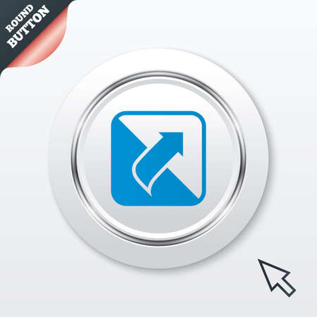 unscrew: Turn page sign icon. Peel back the corner of the sheet symbol. White button with metallic line. Modern UI website button with mouse cursor pointer. Vector