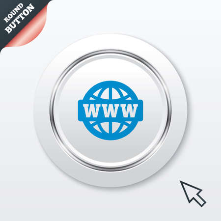 www at sign: WWW sign icon. World wide web symbol. Globe. White button with metallic line. Modern UI website button with mouse cursor pointer. Vector