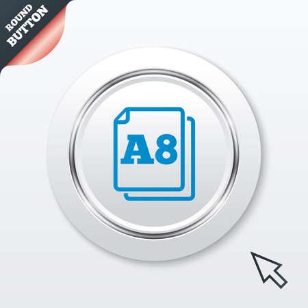 a8: Paper size A8 standard icon. File document symbol.  Illustration