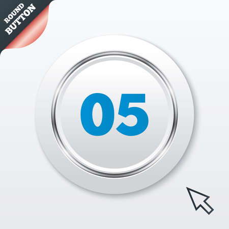 fifth: Fifth step sign. Loading process symbol. Step five. White button with metallic line. Modern UI website button with mouse cursor pointer. Vector Illustration