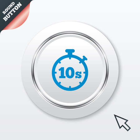 seconds: Timer 10 seconds sign icon. Stopwatch symbol. White button with metallic line. Modern UI website button with mouse cursor pointer. Vector