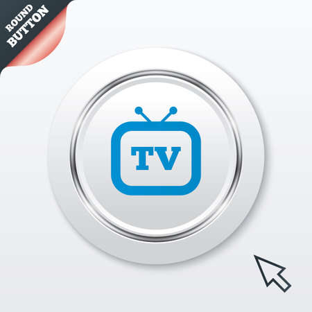television aerial: Retro TV sign icon. Television set symbol. White button with metallic line. Modern UI website button with mouse cursor pointer. Vector