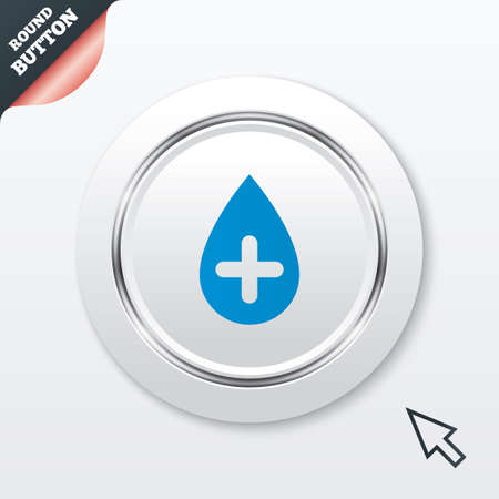 Water drop with plus sign icon. Softens water symbol. White button with metallic line. Modern UI website button with mouse cursor pointer. Vector