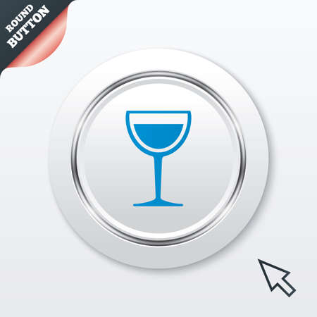 Wine glass sign icon. Alcohol drink symbol. White button with metallic line. Modern UI website button with mouse cursor pointer. Vector