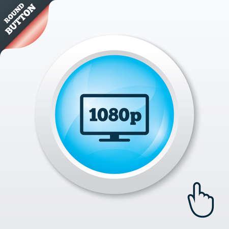 blue widescreen widescreen: Full hd widescreen tv sign icon. 1080p symbol. Blue shiny button. Modern UI website button with hand cursor pointer. Vector Illustration