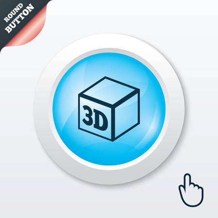 additive manufacturing: 3D Print sign icon. 3d cube Printing symbol. Additive manufacturing. Blue shiny button. Modern UI website button with hand cursor pointer. Vector Illustration