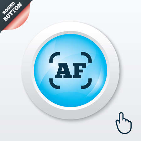 Autofocus photo camera sign icon. AF Settings symbol. Blue shiny button. Modern UI website button with hand cursor pointer. Vector
