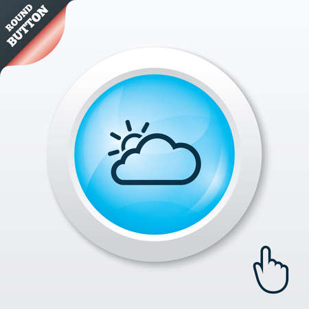 Cloud and sun sign icon. Weather symbol. Blue shiny button. Modern UI website button with hand cursor pointer. Vector Vector