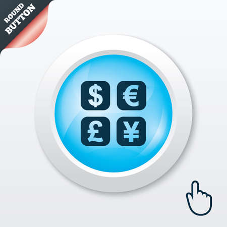 currency converter: Currency exchange sign icon. Currency converter symbol. Money label. Blue shiny button. Modern UI website button with hand cursor pointer. Vector Illustration