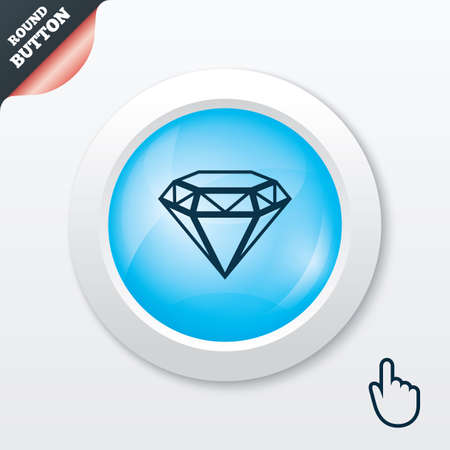 Diamond sign icon. Jewelry symbol. Gem stone. Blue shiny button. Modern UI website button with hand cursor pointer. Vector Vector