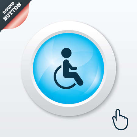 Disabled sign icon. Human on wheelchair symbol. Handicapped invalid sign. Blue shiny button. Modern UI website button with hand cursor pointer. Vector Vector