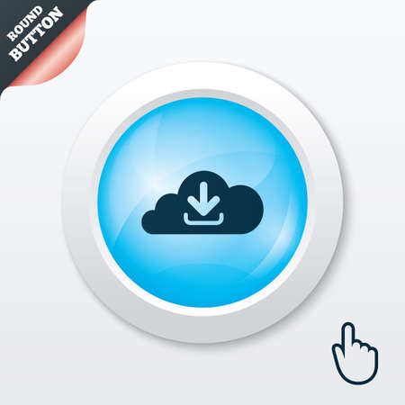 Download from cloud icon. Upload button. Load symbol. Blue shiny button. Modern UI website button with hand cursor pointer. Vector Vector