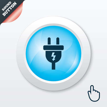 Electric plug sign icon. Power energy symbol. Lightning sign. Blue shiny button. Modern UI website button with hand cursor pointer. Vector