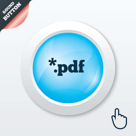 PDF file document icon. Download pdf button. PDF file extension symbol. Blue shiny button. Modern UI website button with hand cursor pointer. Vector Stock Vector - 29942673
