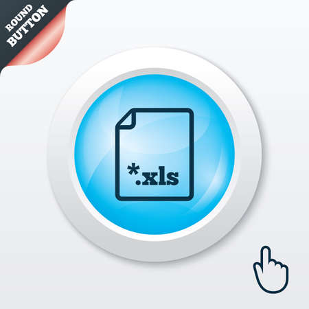 xls: Excel file document icon. Download xls button. XLS file extension symbol. Blue shiny button. Modern UI website button with hand cursor pointer. Vector