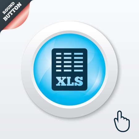 sobresalir: Icono de documento de archivo de Excel. Descarga bot�n xls. S�mbolo de archivo XLS. Bot�n brillante azul. Bot�n moderno del sitio web de IU con el puntero del cursor de la mano. Vector Vectores