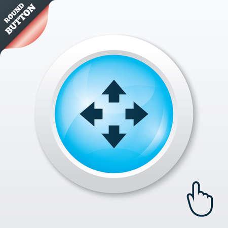 Fullscreen sign icon. Arrows symbol. Icon for App. Blue shiny button. Modern UI website button with hand cursor pointer. Vector Vector