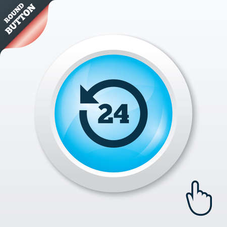 24 hours customer service. Round the clock support symbol. Blue shiny button. Modern UI website button with hand cursor pointer. Vector Vector