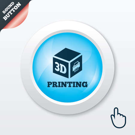 3D Print sign icon. 3d cube Printing symbol. Additive manufacturing. Blue shiny button. Modern UI website button with hand cursor pointer. Vector Vector