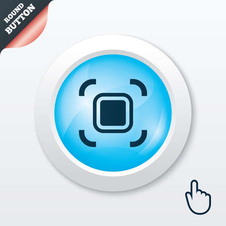 autofocus: Autofocus zone sign icon. Photo camera settings. Blue shiny button. Modern UI website button with hand cursor pointer. Vector Illustration