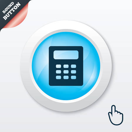 calc: Calculator sign icon. Bookkeeping symbol. Blue shiny button. Modern UI website button with hand cursor pointer. Vector Illustration
