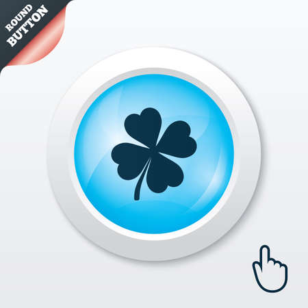 Clover with four leaves sign icon. Saint Patrick symbol. Blue shiny button. Modern UI website button with hand cursor pointer. Vector Vector