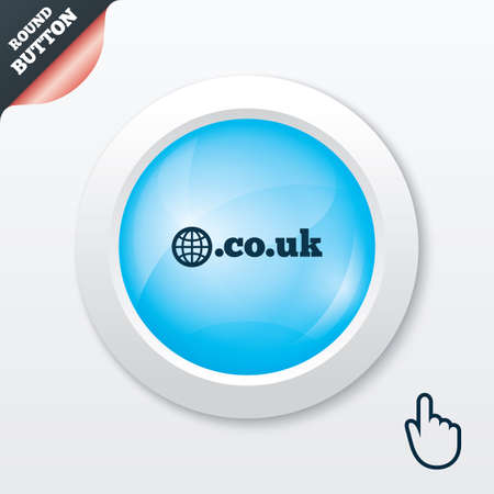 subdomain: Domain CO.UK sign icon. UK internet subdomain symbol with globe. Blue shiny button. Modern UI website button with hand cursor pointer. Vector