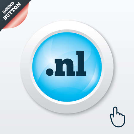 nl: Domain NL sign icon. Top-level internet domain symbol. Blue shiny button. Modern UI website button with hand cursor pointer. Vector