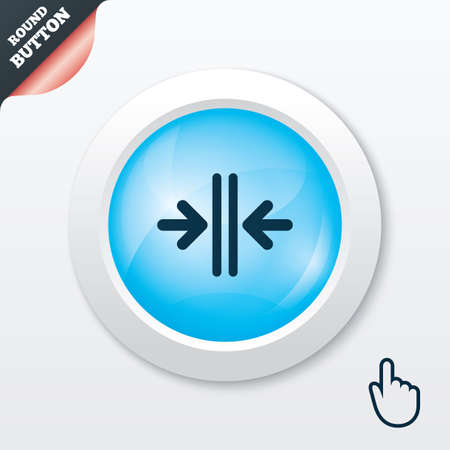 Close the door sign icon. Control in the elevator symbol. Blue shiny button. Modern UI website button with hand cursor pointer. Vector Vector