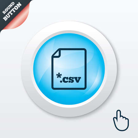 csv: File document icon. Download tabular data file button. CSV file extension symbol. Blue shiny button. Modern UI website button with hand cursor pointer. Vector