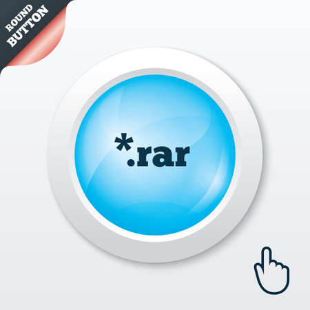 rar: Archive file icon. Download compressed file button. RAR zipped file extension symbol. Blue shiny button. Modern UI website button with hand cursor pointer. Vector
