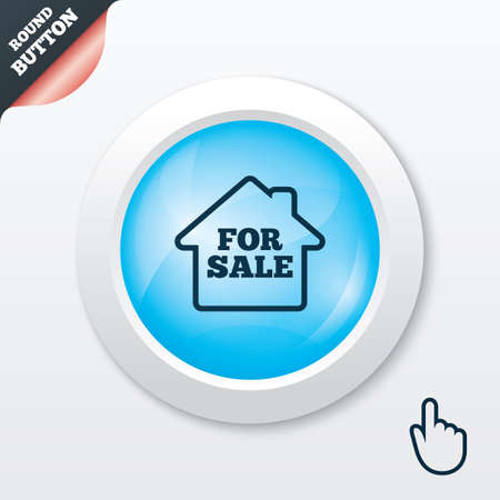 for sale sign: For sale sign icon. Real estate selling. Blue shiny button. Modern UI website button with hand cursor pointer. Vector