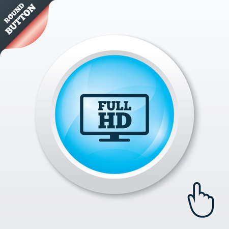 blue widescreen widescreen: Full hd widescreen tv sign icon. High-definition symbol. Blue shiny button. Modern UI website button with hand cursor pointer. Vector Illustration