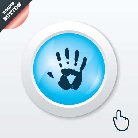 Hand print sign icon. Stop symbol. Blue shiny button. Modern UI website button with hand cursor pointer. Vector Vector