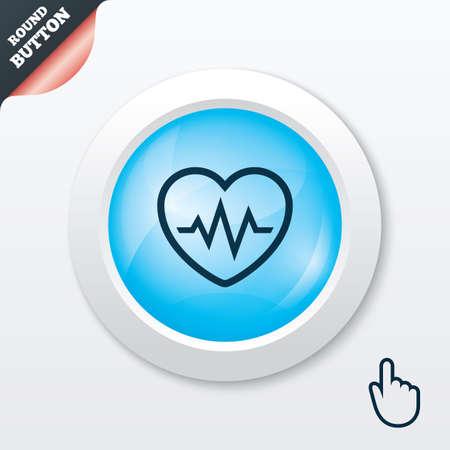 Heartbeat sign icon. Cardiogram symbol. Blue shiny button. Modern UI website button with hand cursor pointer. Vector Vector