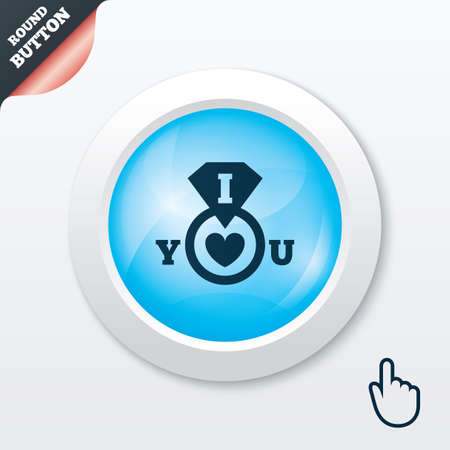 i love you sign: I Love you sign icon. Valentines day symbol. Blue shiny button. Modern UI website button with hand cursor pointer. Vector Illustration
